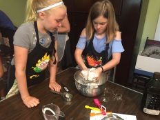 Isabella and Edla Making Dough